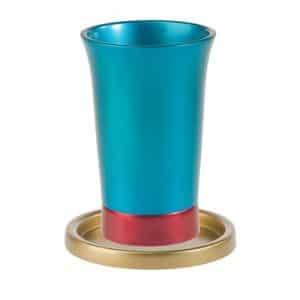 גביע קידוש לשבת עם צלחת צבעוני