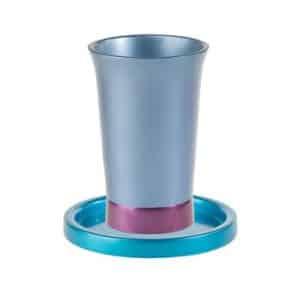 גביע קידוש צבעוני עם צלחת