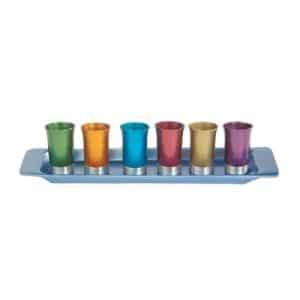 סט כוסיות לקידוש עם מגש אורחים ילדים חלוקה צבעוני
