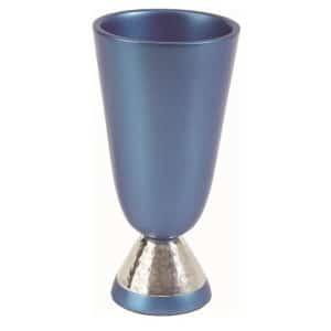 גביע קידוש כוס קידוש לשבת אנודייז עם רגלית רקועה עמנואל כחול