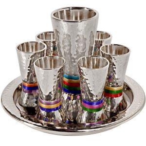 סט קידוש צבעוני גביעים לשבת גביע עם כוסיות