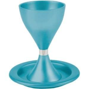 גביע קידוש כוס קידוש לשבת מודרני עם צלחת עמנואל טורקיז כחול גביע עם רגל