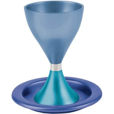 גביע קידוש כוס קידוש לשבת מודרני עם צלחת עמנואל כחול וטורקיז גביע עם רגל