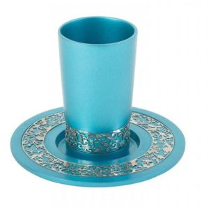 כוס קידוש כחול כסף שבת
