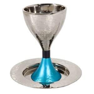 גביע קידוש כוס קידוש לשבת מודרני עבודת פטיש כסוף כסף טורקיז עמנואל