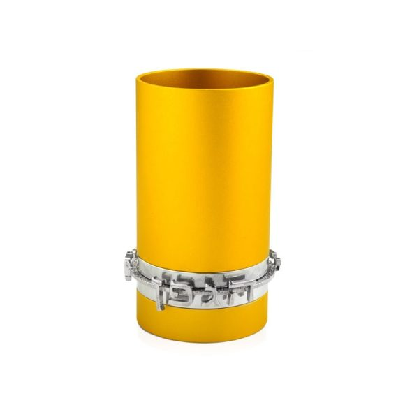 גביע קידוש כוס קידוש שבת אנודייז עם כיתוב דבח זהב