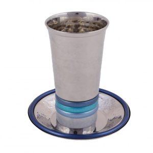 כוס קידוש גביע קידוש טבעות בולטות גווני כחול עם צלחת עמנואל כחול