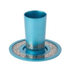 כוס קידוש גביע קידוש לשבת ירושלים עם צלחת עמנואל טורקיז